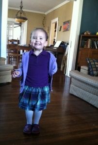 Lydia smiling a little overzealously as she is ready for her appointment with the good doctor.